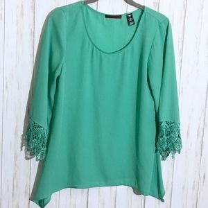BKE Aqua Mint Green Oversized Blouse